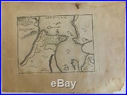 Morbihan (56) Carte du Port Louis, autrefois Blavet Bretagne Eau-forte Etching