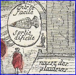 Nicolas Guérard La plaideuse justice avocat gravure & aquarelle XVIIe 30x22 rare