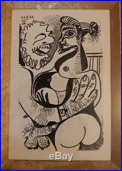 PABLO PICASSO (d'Après) superbe lithographie Couple sexe Erotique 1970, Curiosa