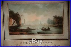 Paire De Gravures-aquarellees-vue Du Lac De Geneve-suisse-briceau-epoque XVIII E