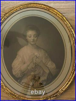 Paire de gravures ovales dans leur cadre -Princesse Marie jeune fille GREUZE