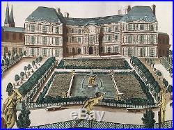 Palais du Luxembourg Vue d optique Perspective 18 ème XVIII Gravure Colorée 521120abb51e