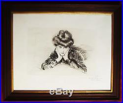Paul Cesar Helleu Pointe Seche Gravure Le Visage Encadre Portrait Drypoint Print