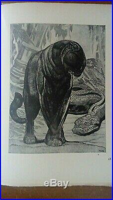 Paul JOUVE, Panthere assise, 1947, lithographie numérotée