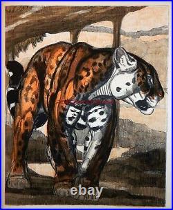 Paul Jouve Lithographie Originale Deux Jaguars