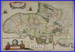 Pays De Caux Normandie Rouen Dieppe Le Havre Seine Gravure Carte Blaeu 1635 J82