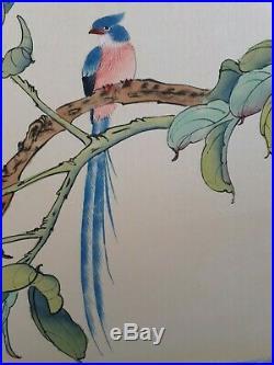 Peinture sur soie asiatique signé Oiseau sur branche fleuri début XXème