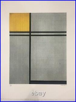 Piet Mondrian Lithographie CM 50x70 Éditions Artis Leonardo Avec Certificat De