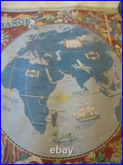 Planisphère Années 50 Air France Lucien Boucher Carte du Monde -Original