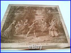 Plaque De Cuivre Gravée Ancienne A Imprimer Jeu Des Quatre Coins +tirage Papier