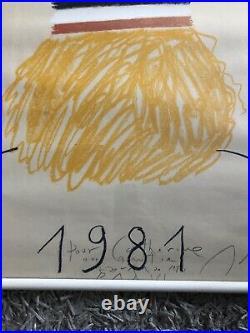 Poster Affiche Roland Garros 1981 Parfait Etat Original HORS COMMERCE Handsigned