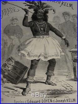 RARE Litho MAGIE PRESTIDIGITATION MAGIC VEUVE BILBOQUET PARTITION MUSIQUE 1865