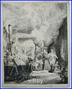 REMBRANDT Eau Forte Burin Signe 1639 Papier Verge Filigrane MORT de la VIERGE