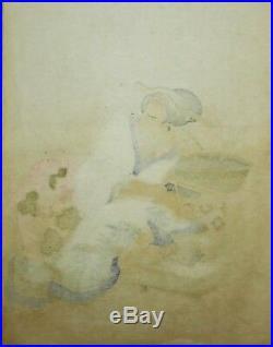 Rare ESTAMPE JAPONAISE élève Hokusai HOKKEI, GEISHA original ukiyo-e surimono
