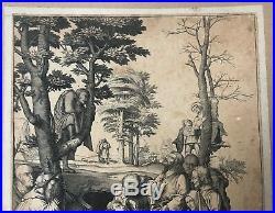 Rare Gravure XVIème de Lucas van Leyden Jésus dans la Prison