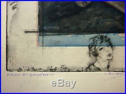 Rare eau-forte monotypée par Edouard CHIMOT illustrant Pierre LOUYS