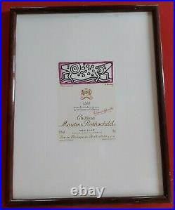 Rare lithographie dessin Keith Haring pour Chateau Mouton Rothschild Pauillac 88