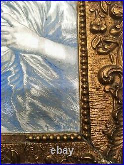 Rare peinture oeuvre par boucher (la coquette) S Longet FIN 18EME
