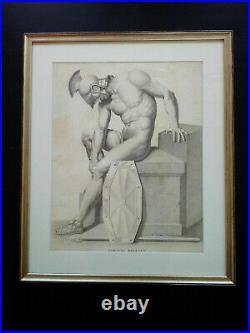 Rarissime très grand format gravure XIXème curiosa nu masculin soldat romain