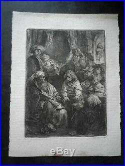 Rembrandt Joseph Racontant Ses Songes Gravure Etching Tres Rare A Voir
