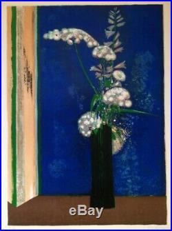 Rene Genis (1922-2004) Lithographie Originale Nature Morte Aux Fleurs 1960 (8)