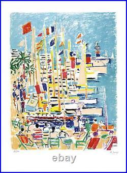 Robert SAVARY (1920-2000) LITHOGRAPHIE ORIGINALE SIGNÉE AU CRAYON, Port à Cannes