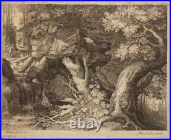 SADELER Aegidius Trois hommes et un chien ECOLE DU NORD PAYSAGE XVII