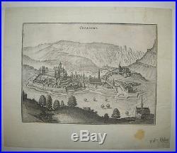 SAVOIE VUE DE CHAMBERY du XVIIème siècle Gravure à l'eau-forte LES ALPES