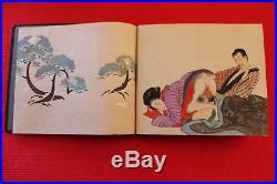 SHUNGA Art Antiquité érotique15 Estampes Japonaise sur soie du tout début 19ème