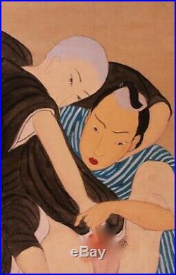 SHUNGA Estampe Japonaise gay curiosa Erotique peinte à la main fin 19 ème siècle