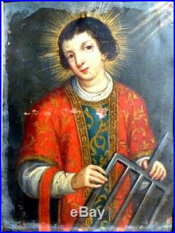 Saint Laurent de Rome Tenant un Gril École Espagnole 17e Huile sur Cuivre 1640