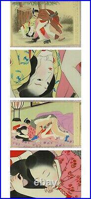 Shunga, estampes Japonaise érotiques. Rouleau Makemono époque Meiji sur soie