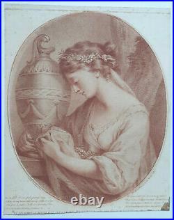 Sorrowing Maiden GRAVURE SANGUINE Ryland ANGELICA KAUFFMANN Stanwix 1767