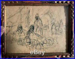 Sublime dessin orientaliste rehaussé encre XIXème. Le souk. Fromentin Gerome