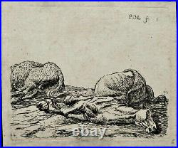 Suite complète de 6 eaux-fortes de Pieter VAN LAER Chevaux