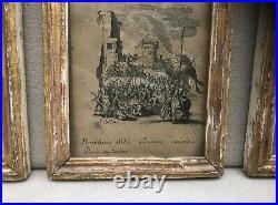 Suite de 6 ancienne gravure signé JACQUES CALLOT Cadres dorés LA PETITE PASSION