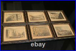 Suite de 6 gravures anglaises XIXe vues de Londres avec cadres