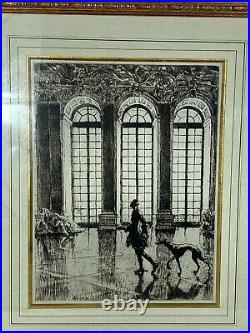 Superbe GRAVURE, intitulée l'homme au lévrier à Versailles signée Drian