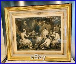 Superbe Grande GRAVURE ANCIENNE Calypso et télémaque XIXe d'après D. PAPETY