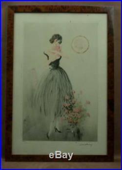 Superbe Gravure Lithographie Art Deco Elegante Signee Albert Ferro Gout Icart