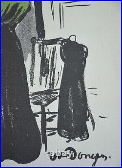 Superbe Lithographie de Kees Van Dongen Femme au Miroir