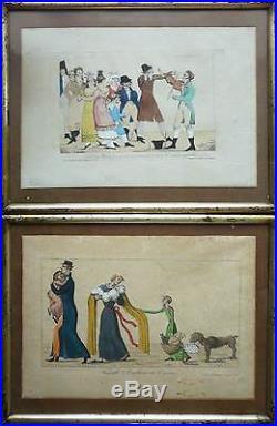 Tableau Gravure Estampe chez Basset, Paris, vers 1810 caricature anglais + Cadre
