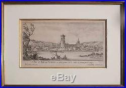 Tableau Gravure XVII° Vue de Lyon / Rhone par Israel Silvestre 1621-1691