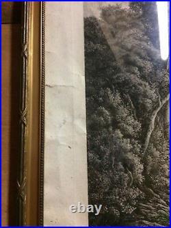 Tableau grande gravure Le matin les biches de Fêlix Oudart d'après Daubigny