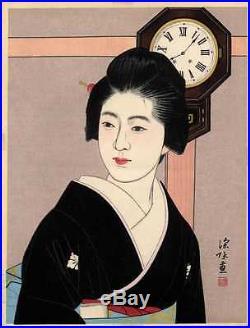 UWEstampe japonaise Femme et pendule Ito Shinsui 99 M29