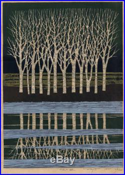 UWEstampe japonaise Shin-Hanga Fumio Fujita arbres 24 G58