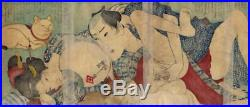 UWEstampe japonaise érotique shunga originale Kuniyoshi couple et chat 24 D09