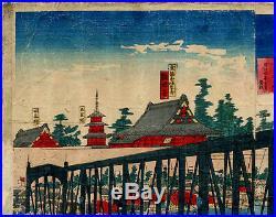 UWEstampe japonaise originale Ikuei triptyque Pont Azuma 51 H09