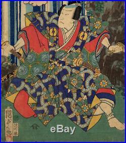 UWEstampe japonaise originale triptyque Kabuki cascade Kunisada II 18 M10