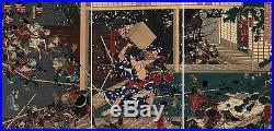 UWEstampe japonaise triptyque original Yoshitora combat samouraï jeu Go 99 M53